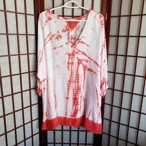 Soft Surroundings Orange and White Tie-Dye Tunic
